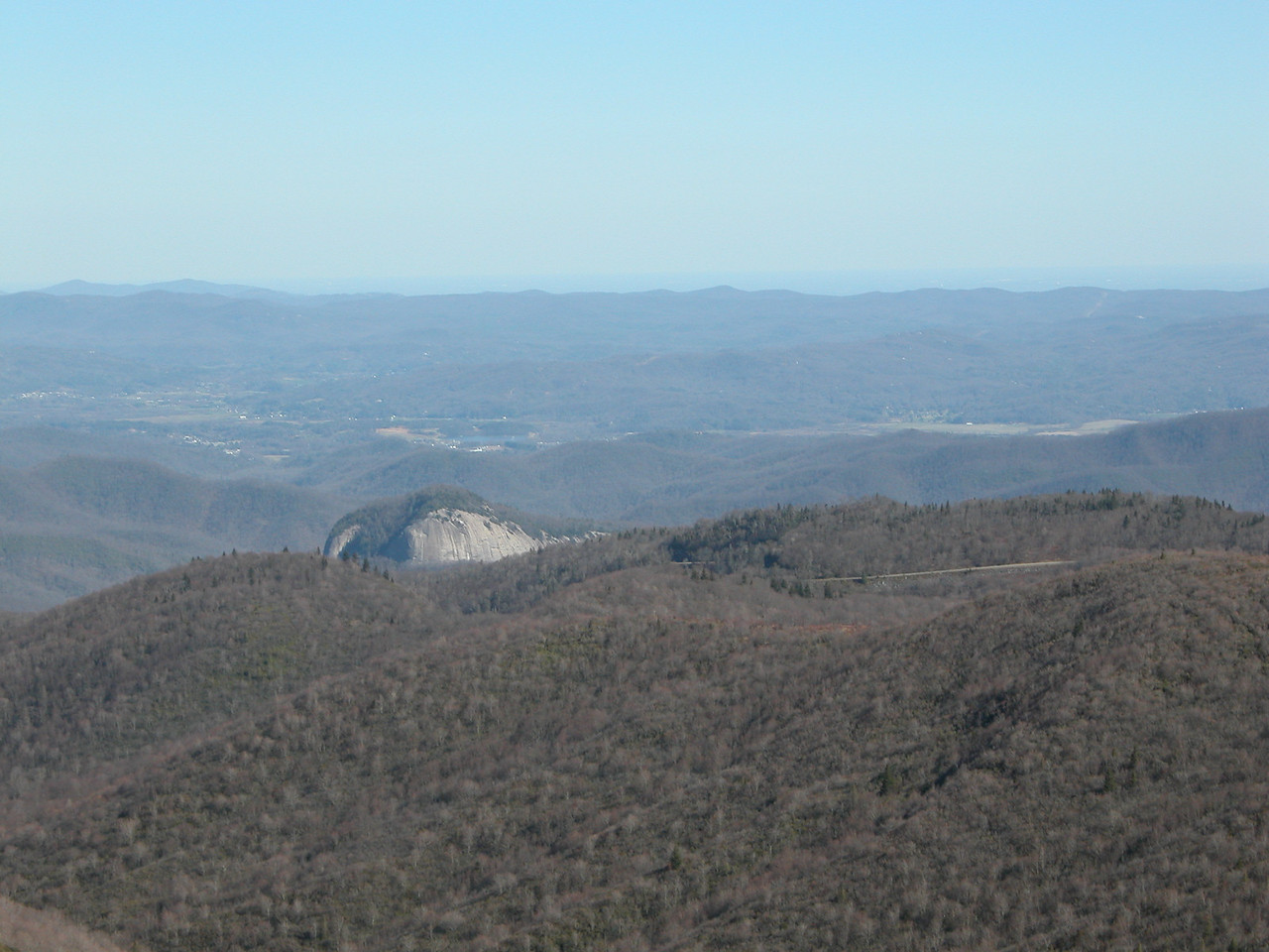 View of Looking Glass Rock and the Parkway from the summit of Tennent Mtn.