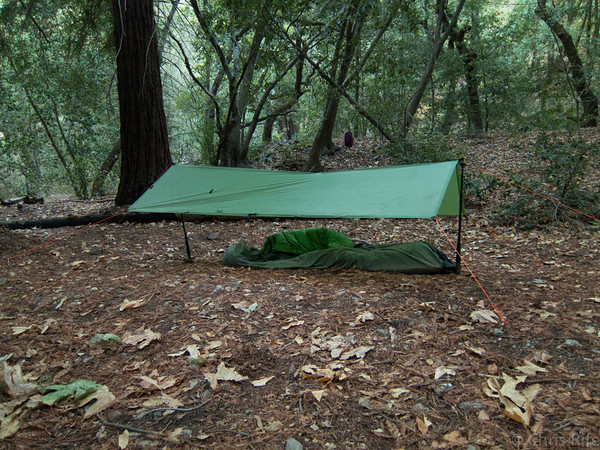 Luxury accomidations at Vicente Camp. Setting up the tarp and preparing dinner in the dark was somewhat challenging.