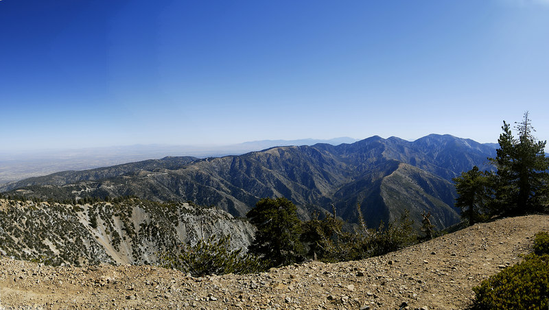 View from the Mt. Baden-Powell summit (9,399 ft.)  Baldy and West Baldy in the background and San G visible in the far distance.