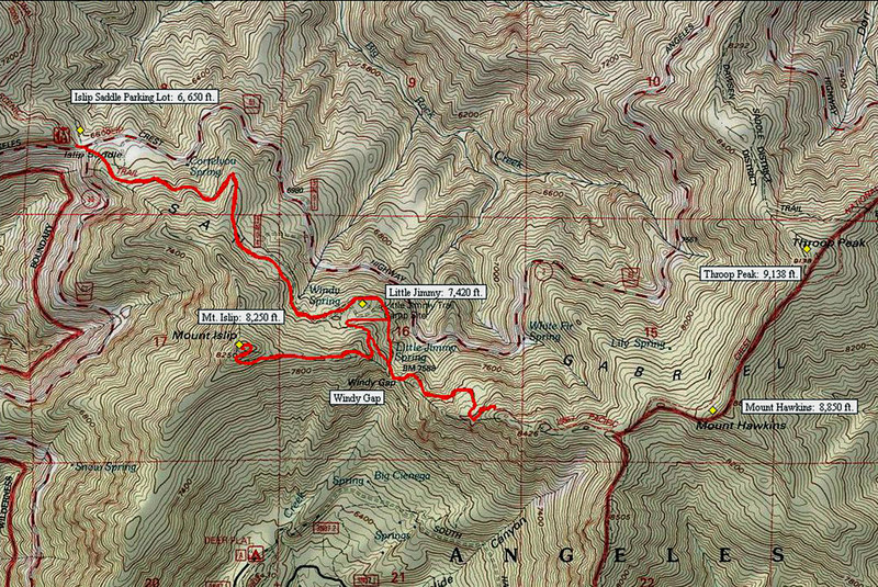TOPO map of trail.  Total miles hiked = 7.5 miles  <br /> Elevation gain = 2,756ft.