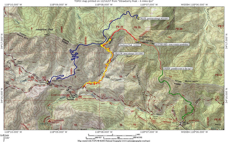 TOPO map of Strawberry Peak.  Blue = My aborted attempt of Strawberry Peak 4/22/2007 due to snow conditions.  Yellow = no summit attempt of Strawberry Peak 12/15/2007.  Green + dotted Red = Proposed route at a later date.  Anyone know if this would work?