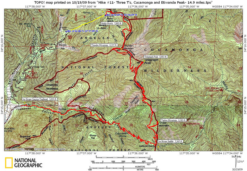 Our original hike that we planned included Cucamonga Peak and Etiwanda Peak.  However after an hour delay at the start due to a chairlift #1 problem to Baldy Notch, we could only bag the Three Tee's : Thunder Mountain (8,557 ft.), Telegraph Peak (8,985 ft.) and Timber Mountain (8,303 ft.)  The hike back to the car down Ice House Canyon was amazing with fall colors ablaze everywhere!  My GPS recorded a total distance of 11.27 miles.  It felt like it! :))