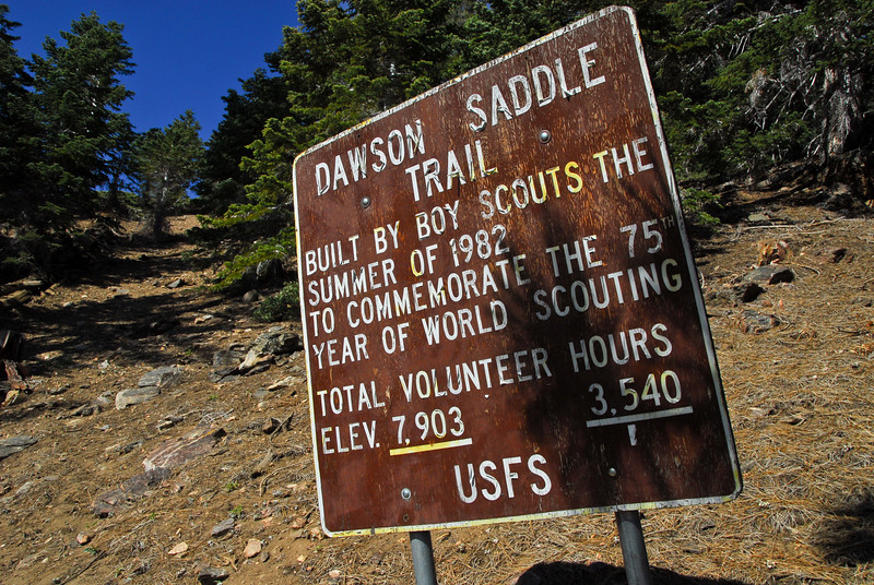 Dawson Saddle Trail sign.