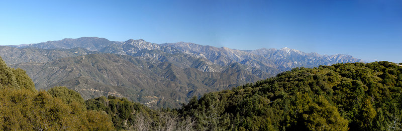San Gabriel mountains taken from Mt. Wilson, January 1, 2007.<br /> <br /> Anyone know the peaks in the photo?  Way off in the distance to the right is San J (I think!)