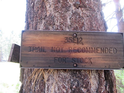 When I entered Little Manter Meadow (6800') there were old trail signs in an obsolete place, once located to ...
