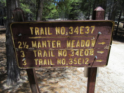 The South Manter Trailhead (8000'), by Big Meadow, was my starting point and ...