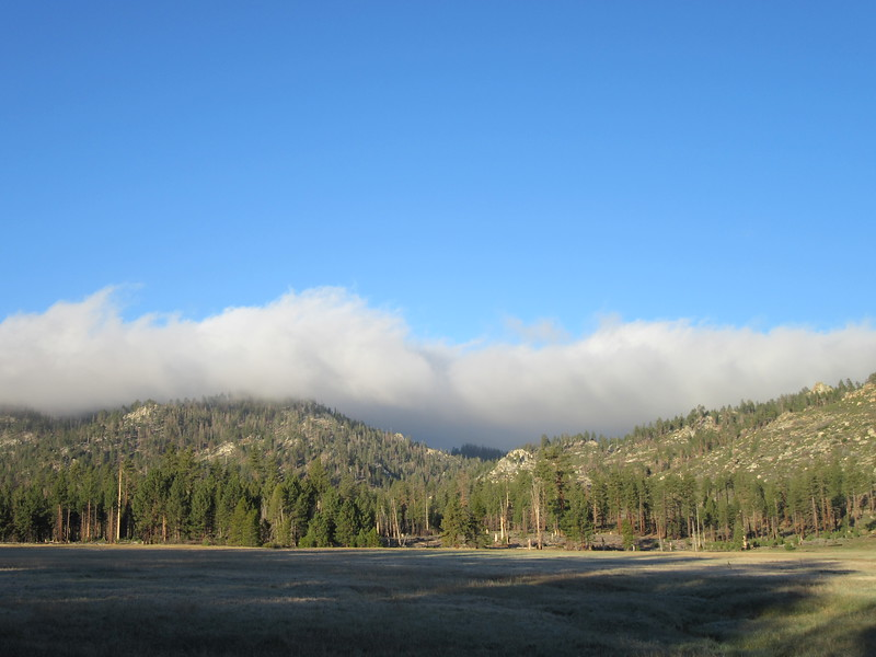 The next morning there was this cloud bank hovering over the mountains west of Manter Meadow and ...