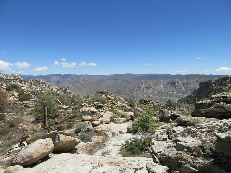 From the top of the ridge near the saddle (7320'), the view east overlooking Rockhouse Basin and the South Fork Kern River was astounding.  Well worth the climb and the view is shown better by ...