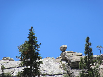 While hiking down the trial, I spotted this boulder perched up on the ridge.  This is the zoomed in shot, while ...