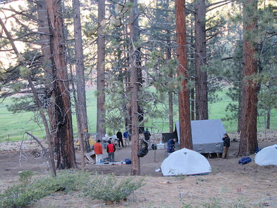 and soon passed by the camp of a volunteer trail crew from Indiana.  They were seminarians studying to be catholic priests and in the Domeland for eight days of working on the Woodpecker and Domeland Trails.  (More on that later!)