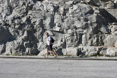 Tom walking Wookie near Olmstead Point.