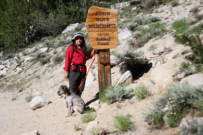 Timber and Wookie at the entrance to the John Muir wilderness.