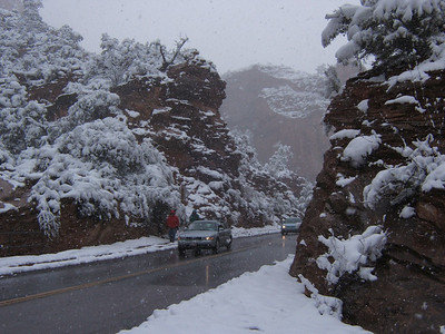 We have been doing an annual April backpack to the Escalante area for 10 years. It is amazing how often we encounter snow on the drive to Utah. Here is what it looked like in Zion National Park this year as we passed through. But the weather always improves once we reach the Escalante.