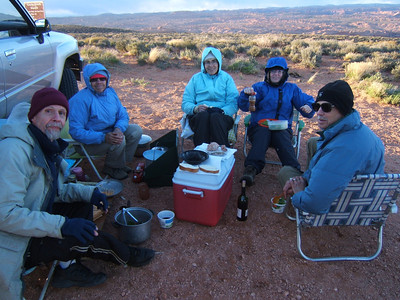 We have to use the vehicles as a windbreak to eat dinner at the trailhead. We had a cold night but the remainder of the trip was very pleasant.