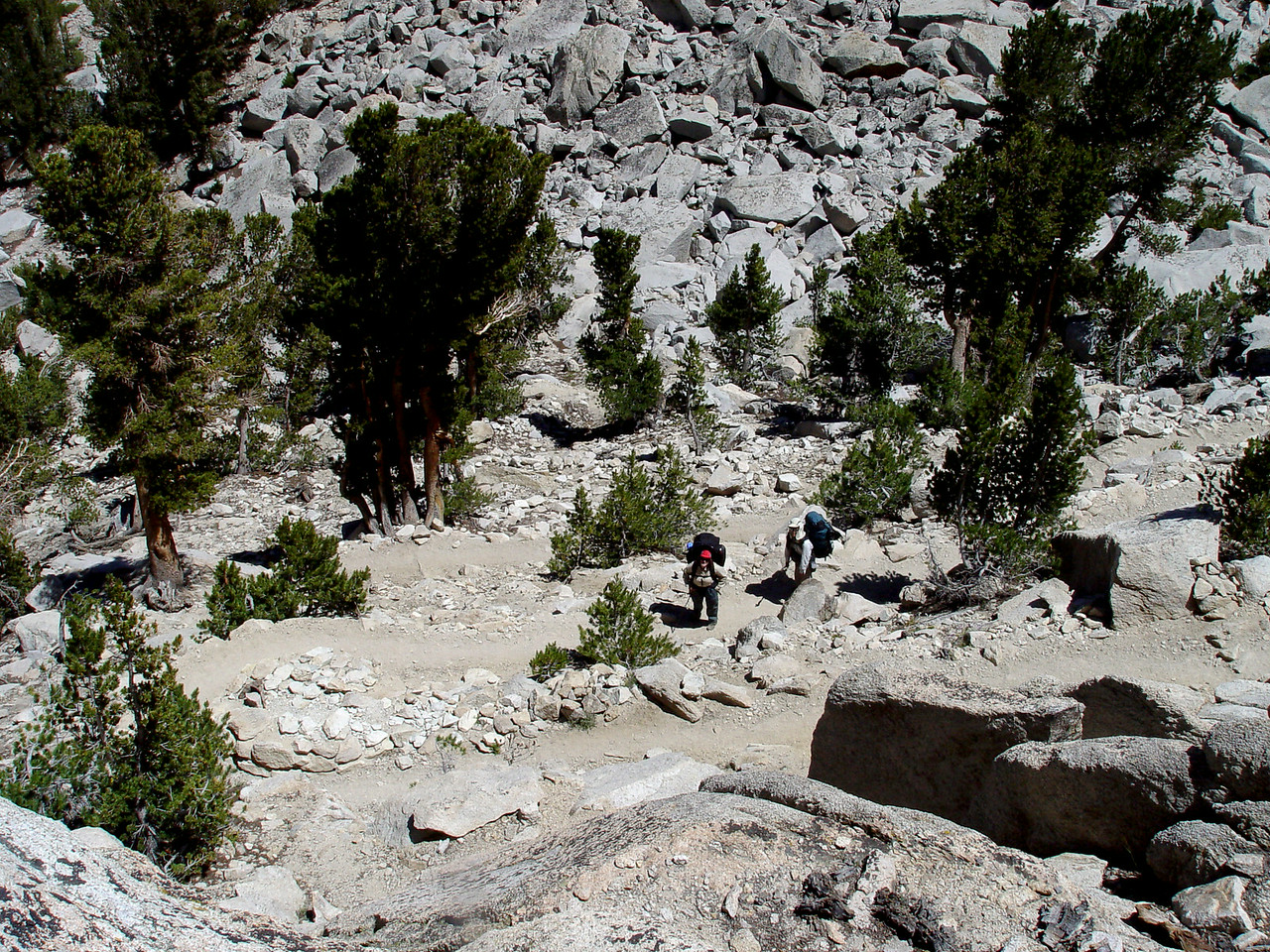 Kearsarge Pass Trail switchbacks