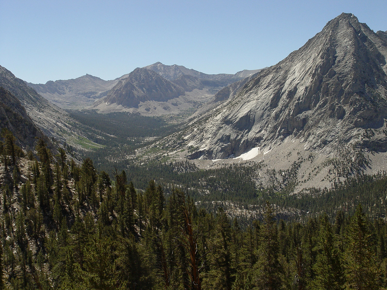 JMT Route South to Forester Pass (center)