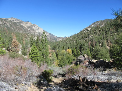 At the top of the switchbacks, there was this view north and upstream,  shortly before ...