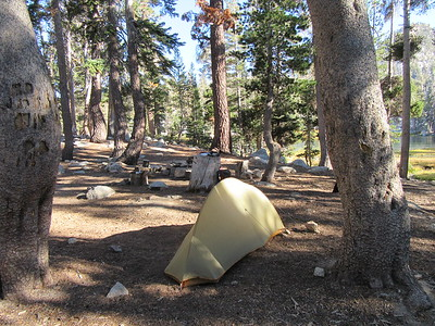 I camped at Maggie Lakes (9,020') for two nights, a beautiful area except for ...