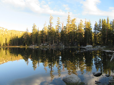 Also the next morning, this look was from across the lower lake toward my campsite up in the trees.
