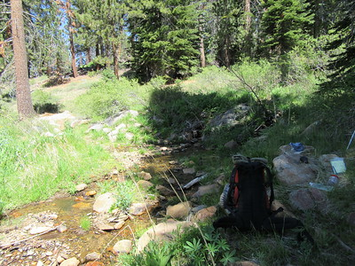 ... stopping for a water break at a tributary of Long Stringer.