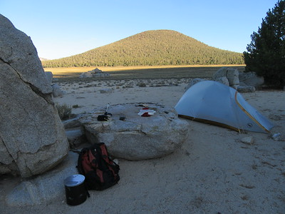 ... where I camped for two nights.  It was a raised island of sand and boulders in Templeton Meadow (8,620') that offered, besides Templeton Mountain across the meadow, some ...