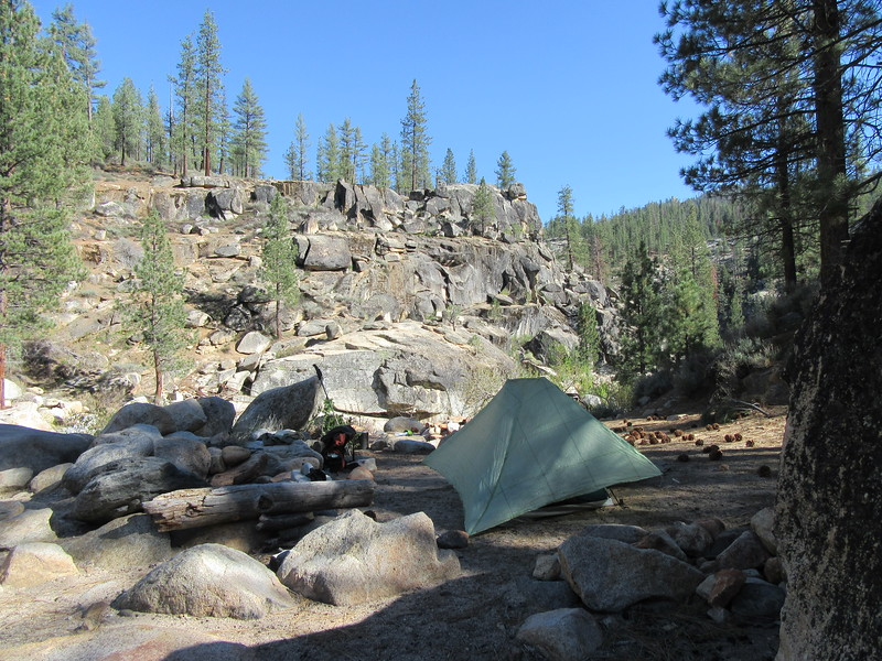 I camped by the LIttle Kern Bridge (5970'), along ...