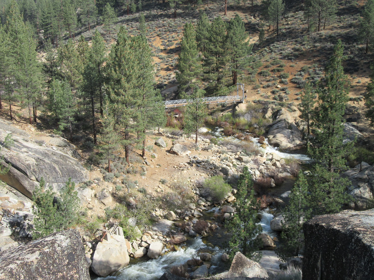 ... rounding the bend in the trail and looking down on Little Kern Bridge.  At the end of the bridge another backpacker was heading up toward me, and after talking with her about her planned climb of Angora Mountain, I crossed the bridge and ...