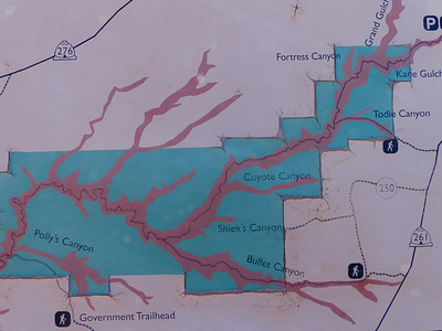 This map shows Kane Gulch entering from the upper right. After Sheik's Canyon, we made a sharp left and hiked up Bullet Canyon to a trailhead several miles from Route 261.