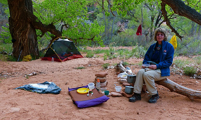We camped at the junction of Kane Gulch and Grand Gulch. Cottonwood trees make a great campsite.
