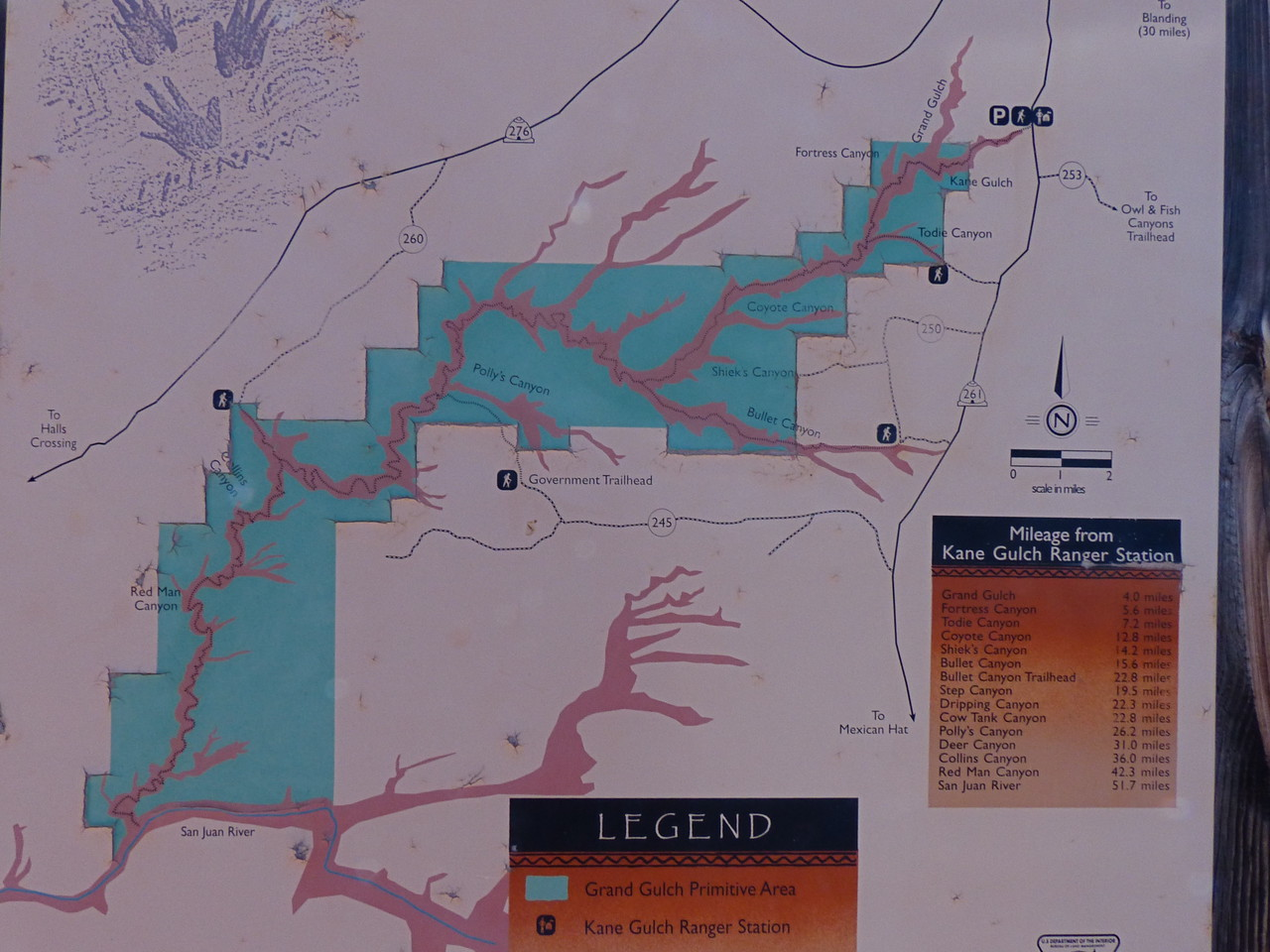 This map shows the entire Grand Gulch complex. Note that our hike covered only a small portion of it.