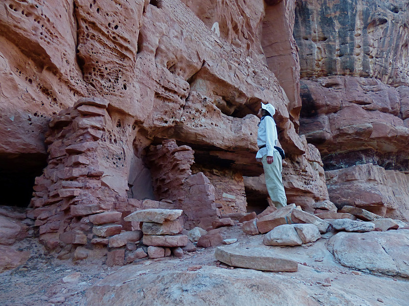 Night 4 was spent in Bullet Canyon near Jailhouse Ruin. Here Rena is checking out the walls and paintings.