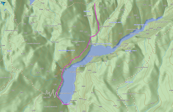 Our approximate route with a more traditional map view. Note that this includes the side-trip to Tiltill Valley.
