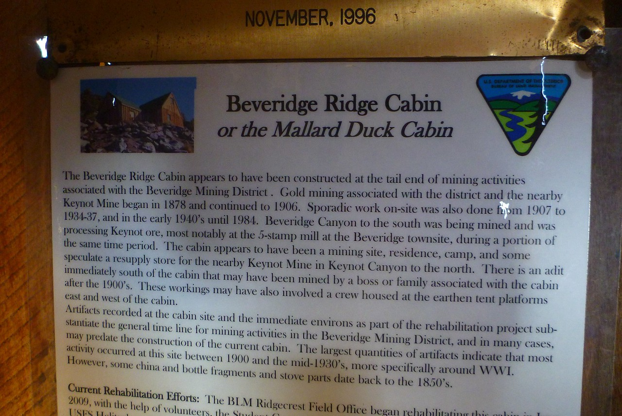 Day 5- Plaque in Beveridge Ridge Cabin.
