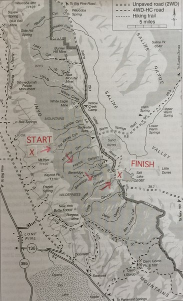 This map shows the general route of the backpack. The route heads East across the crest of the Inyos, turns South and crosses 5 canyons, before turning East again and ending in the Saline Valley.
