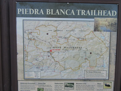 I started at Piedra Blanca Trailhead (3000') for a trip down Sespe Creek, wondering what the water level would be after the heavy rains of twelve days earlier.