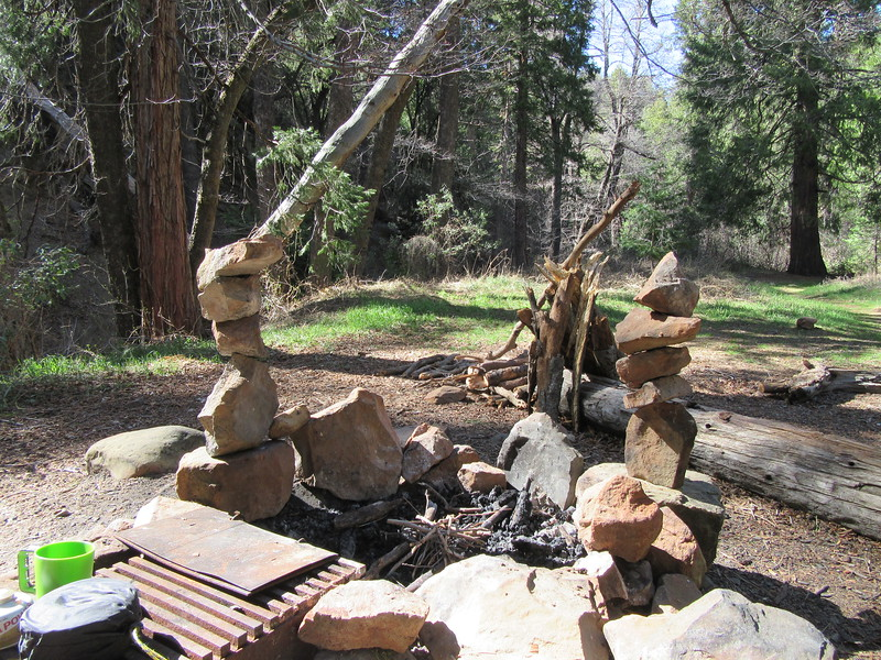 ... admired the balancing rock work from earlier backpackers (but which we disassembled before it fell into our meals), and ..