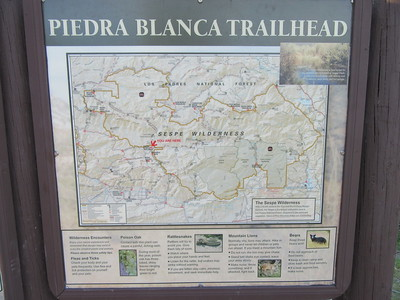 We started at Piedra Blanca Trailhead (3000') where ...