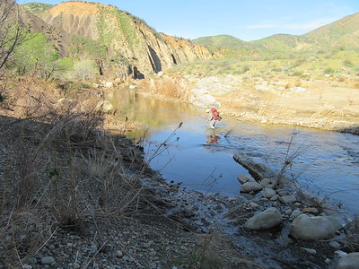 Bardley crossing Sespe Creek (2580') and then ...