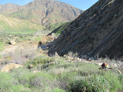 ... starting the climb up Red Reef Canyon, with Sycamore Flat in the background.