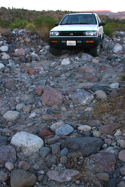 Once in the canyon, we had 5.4 miles further to go to reach the Trailhead at Rancho Matomi. Much of this road was 4WD and it was very slow. We ran out of daylight and camped in the dry river bed.