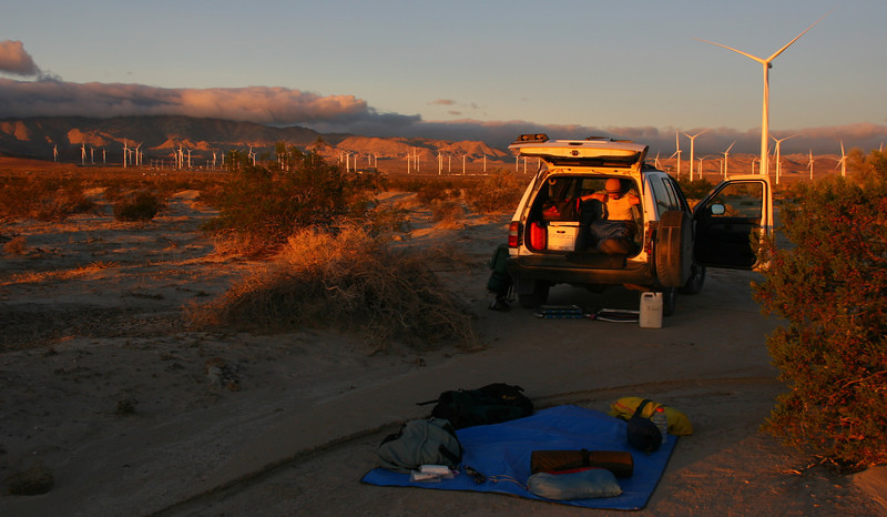 Ron and I left the LA area at 6:30 PM on Nov 30, 2012. We camped off Shell Canyon Road just north of Ocotillo among a large number of wind turbines.