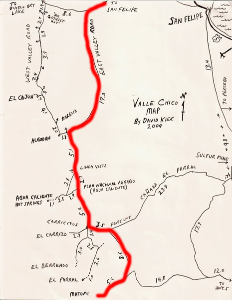 We found this map on the web. It was prepared by David Kier in 2004 and was quite accurate. I drew in the red line to show our driving route from just north of San Felipe.