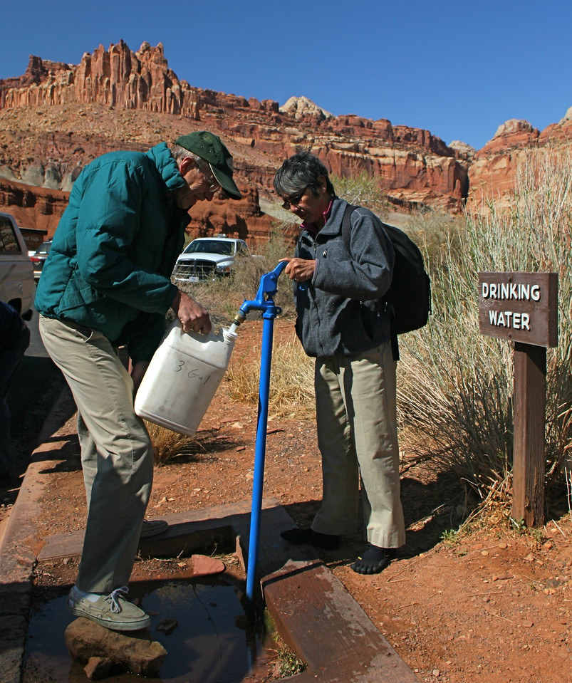 We fill up our water jugs at Capital Reef National Park. We take all our water into the Maze.