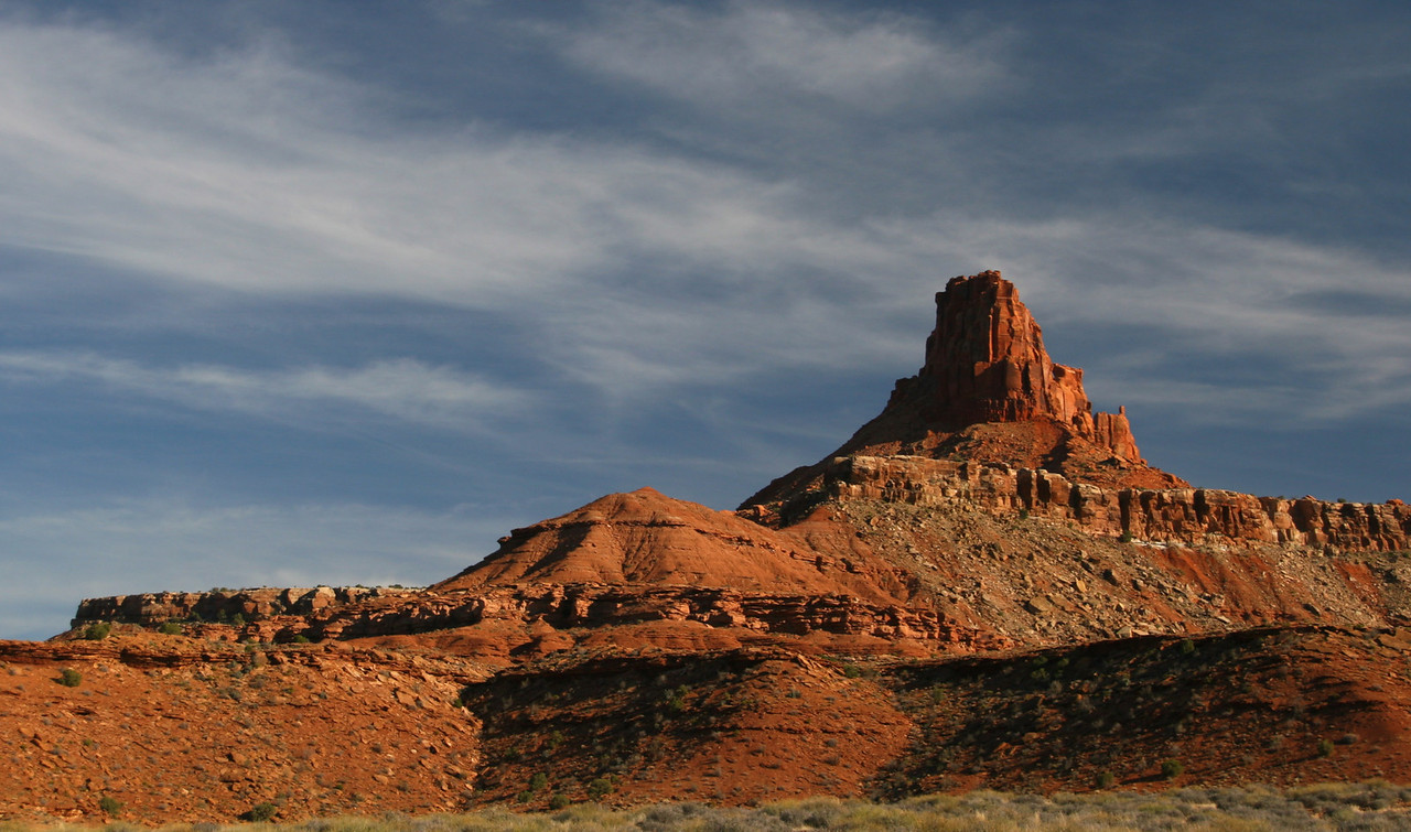 Elaterite Butte is our landmark all day.