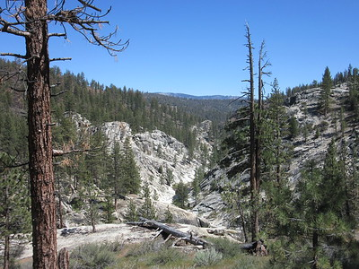 Nearing the Little Kern River, a look downstream, then ...