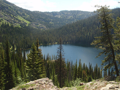 Day 2  Heading up to Sapphire Lake, this is looking back on Upper Holland Lake.