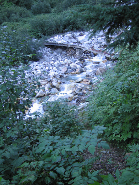 Day 8: After crossing I had to climb a steep brushy embankment to get back to the trail. There were another six or so creeks and rivers like this. I was able to utilize fallen logs across all of them.