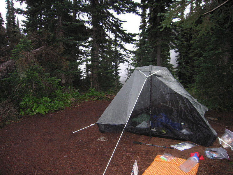 Day 1: Camping at a pass just below Devil's Dome. A large creature, bear or deer, continuously approached my tent at night. I could hear it running away, but never saw it.