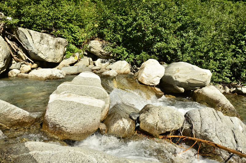 That striped rock looks perfect for sunbathing on in Basin Creek