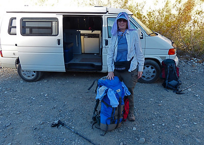 Rena is ready to go after we spent the night at the Surprise CanyonTrailhead in our newly purchased 2000 Eurovan.